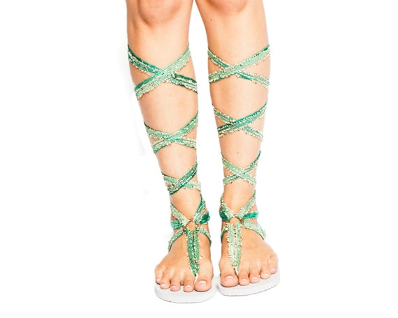 Chrysandals have interchangeable laces and soles. Tall Brown Ombre Lace Up Gladiator Sandals