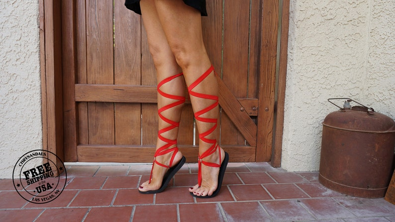 Red Knee High Lace Up Gladiator Sandals Women s