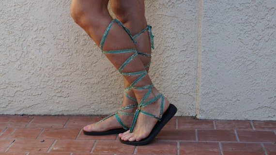 Knee Glam Sandals Lace Up high Jade So Green Boho Gladiator FwUxSU5q