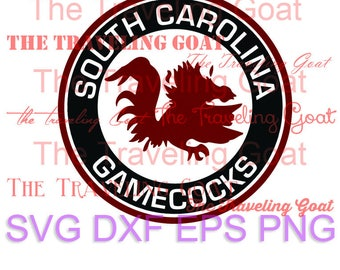USC South Carolina Gamecocks circle logo football cut file with gamecock garnet and black