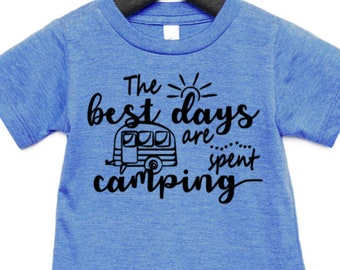 Happy Camper T Shirt Camp Camping Girls Boys Youth Kids Children Short Sleeve Top Tee Adventure Campout Campfire