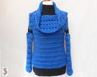 Crochet Set = Sweater - Cap - Arm warmers