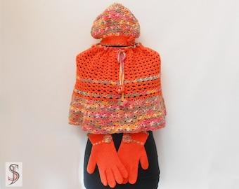 Crochet set = poncho + cap + gloves