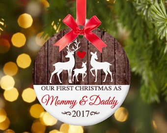 new parents gift first christmas as mommy and daddy ornament christmas ornament ceramic permanent