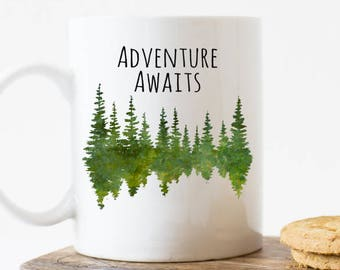Adventure awaits mug, Camp mug, tree