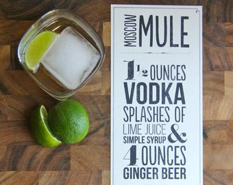 Moscow Mule Recipe Typographic Design; Printable, Instant Download, Copper Mug