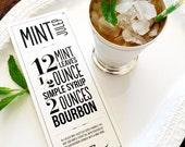 Mint Julep Recipe Typographic Design for Print