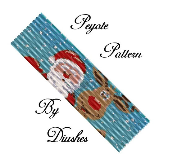 Peyote Beading Pattern Bracelet Santa Claus And Deer Christmas Etsy Simple Seed Bead Patterns