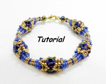 "Tutorial beading bracelet ""Golden night"". Beaded / beadwork / pattern / instruction / lesson / beadweaving"