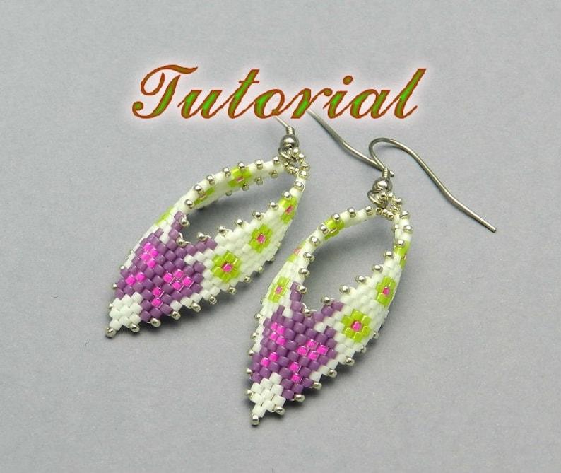 0c40e0c5e Beaded Earrings Tutorial Russian Leaf Earrings Beading | Etsy