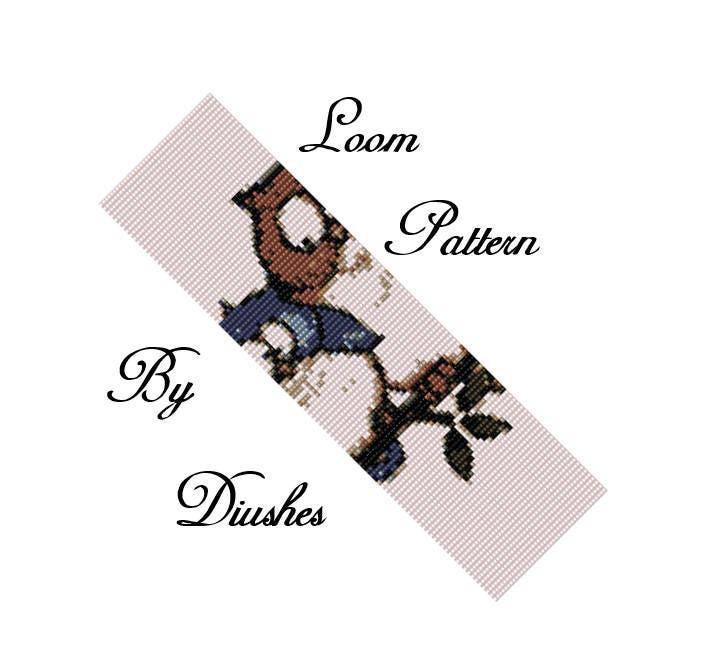 Owls Loom Pattern Beading Bracelet Pattern Seed Bead Wide Cuff Delica Bead Graph