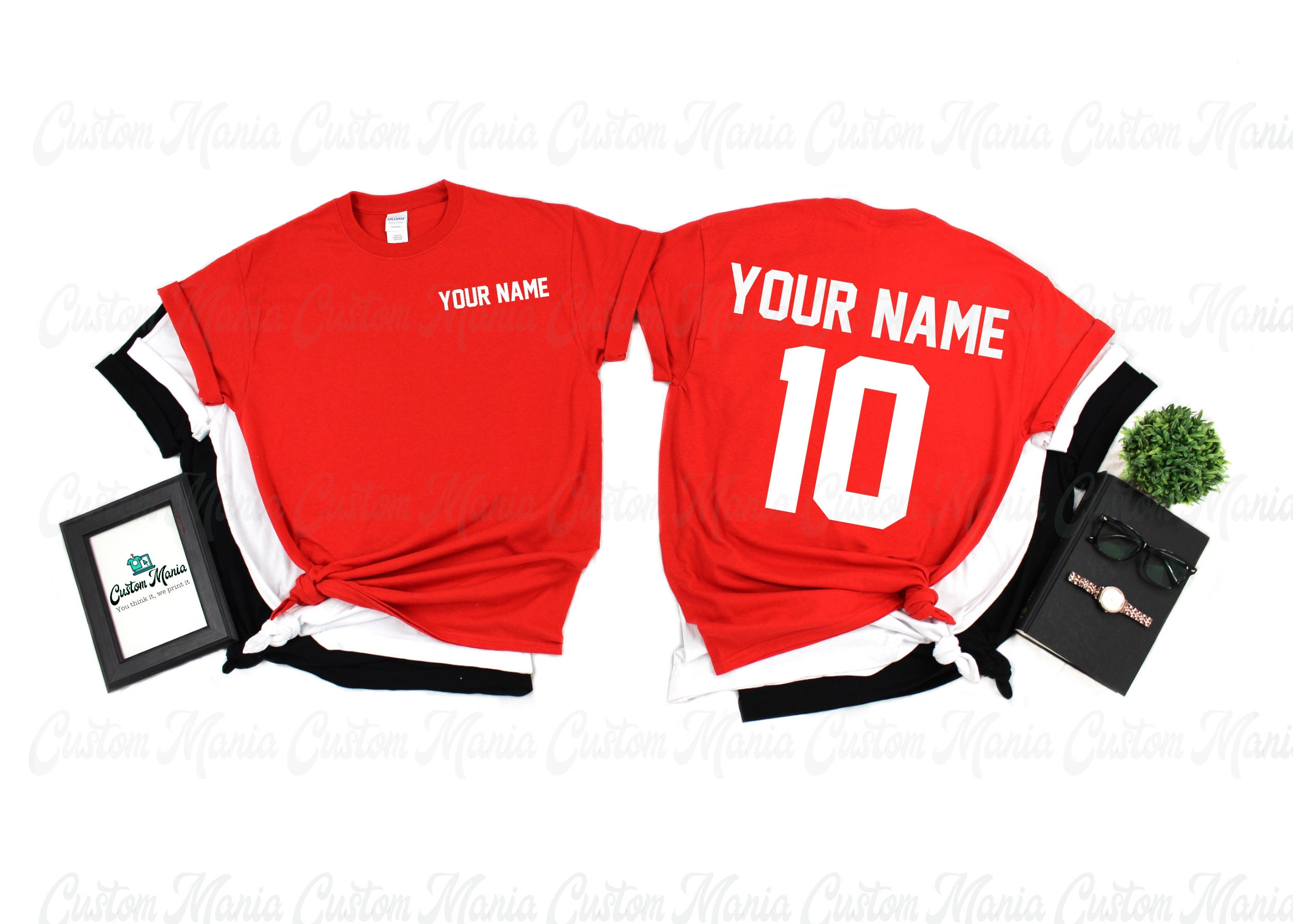 Customized Sports T-shirt (name & Number) Customize Shirt Your Own Writing Unisex Tshirt