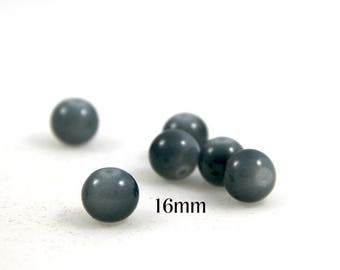 2 glass 16mm round Pearl gray color