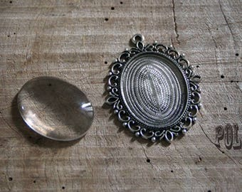 1 support 30 / 40mm oval Locket 30/40mmargent aged with 1 cabochon 30 / 40mm