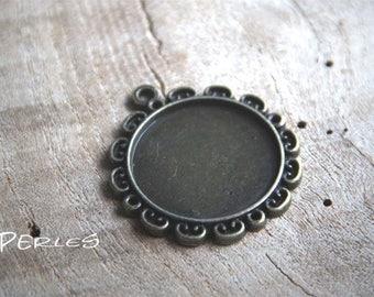Bronze flower collie pendant vintage r 30mm glass cabochon
