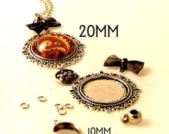 Necklace bow 20mm cabochon pendant Kit