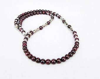 Mens Garnet Necklace, Mens Beaded Necklace, Mens Silver Necklace, Gemstone Necklace, Antique Silver Garnet Necklace, Beaded Jewelry