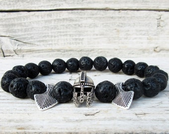 Mens Spartan Bracelet, Arrowhead Bracelet, Gladiator Bracelet, Helmet Bracelet, Black Lava Stone Bracelet, Men's Beaded Bracelet