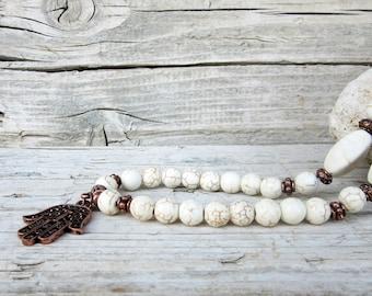 Hand of Fatima Charm Necklace for Men, Hamsa Necklace, Howlite Beaded Necklace, Mens Hamsa Pendant, Mens Hamsa Necklace