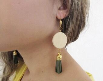 Dark Green Tassel Earrings,  Natural Wooden Earrings, Bold Earrings,  Geometric Earrings, Boho Earrings, Wooden Jewelry, Bohemian Jewelry