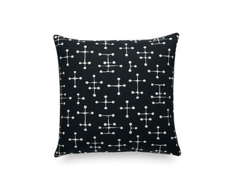 "Charles and Ray Eames small dot pattern. Black and white - Maharam textile. 17"" x 17"" pillow with feather insert"