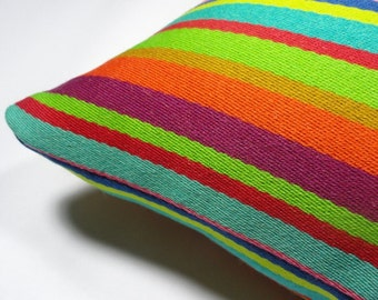 "Maharam Textile - Millerstripe by Alexander Girard, 1973. 17"" x 17"" pillow with feather insert"