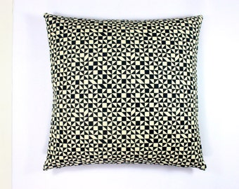 "Checker Split by Alexander Girard, 1967. Maharam Fabric - white and black. 17"" x 17"" pillow with feather insert"