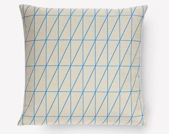 "Maharam pillow -  Bright Angle fabric designed by Scholten & Baijings 17"" x 17"" 002 Cyan. Blue"