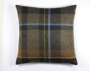 "Maharam Exaggerated Plaid fabric by Paul Smith - 17"" x 17"" pillow with feather insert. Color Firth"