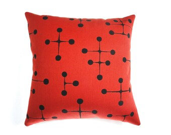 "Large Dots pattern by Charles and Ray Eames - Maharam Fabric. 17"" x 17"" pillow with feather insert. Red / Black"