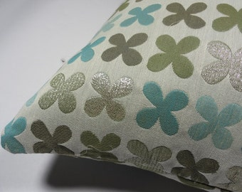"""Quatrefoil by Alexander Girard, 1954  Silver Maharam Fabric - Pillow 17"""" x 17"""" feather insert included"""