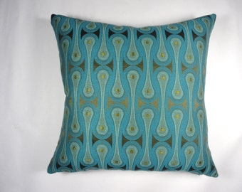 """Maharam pillow cover Design 9297 by Josef Hoffmann -Peacock accent pillow 17"""" x 17"""" with feather insert. Decorative pillow. Blue, teal."""