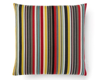 "Paul Smith Ottoman Stripe - Brass. Maharam fabric. 17"" x 17"" pillow with feather insert. Decorative pillow"
