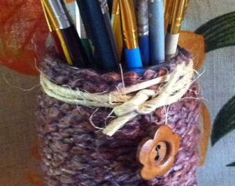 Yarn wrapped  Jar Twine and Wooden Buttons