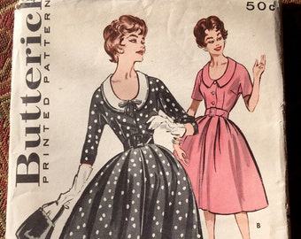 Butterick 9225 - 1950s Misses' Full-Skirted Dress, Size 14/Bust 34, factory-folded sewing pattern