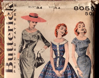 Butterick 8058 - 1955 Scooped Yoke Dress with two skirts, Size 14/Bust 34, factory-folded sewing pattern