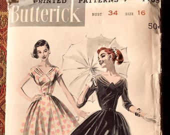 Butterick 7789 - 1950s wide-necked dress with bodice detail, Size 16/Bust 34, factory-folded sewing pattern