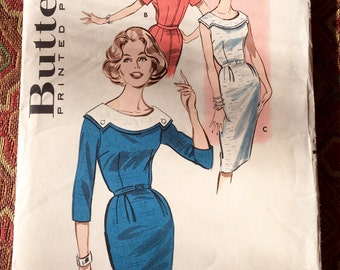 Butterick 9328 - 1960s Misses' Sheath Dress, Size 14/Bust 34, factory-folded sewing pattern