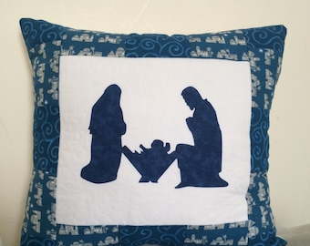 Nativity applique pillow, Quilted Nativity Pillow, Christmas pillow