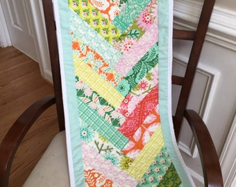 Spring quilted table runner, summer quilted table runner, quilted table runner