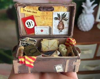Miniature suitcase for doll house 1:12 scale, Dollhouse Miniature, Realistic Travel Suitcase, Vintage luggage Doll case