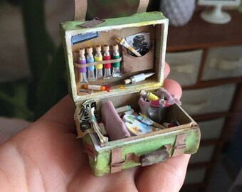 Miniature suitcase for doll house 1:12 scale, Dollhouse Miniature Artist, Miniature luggage