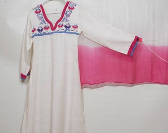 Ladies Long white pink blue casual 3 pc pakistani suit dress pants and shall size S