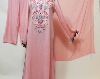 Ladies Long embroidered pink dress with tassels  pants and shall pakistan 3 pc suit  size S-M