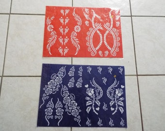 2 Big Reusable Mehndi Henna Rubber Self Stick Stencil Template.