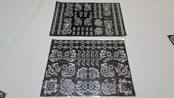 2 Big Reusable Mehndi Henna sticker Self Stick Stencil Template