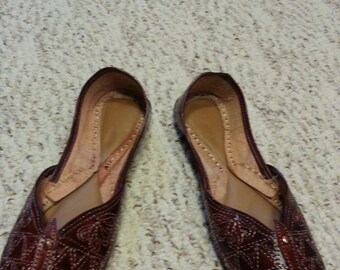 All Brown Leather Indian shoes size 7.5-8 EUR 37-38 N