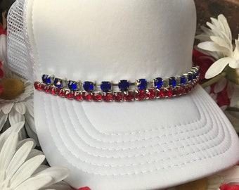 4th Of July Hats, Patriotic Hats, Red White Blue Hats, Bling Hats, Trucker Hats, Bling Trucker Hats