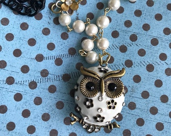 Jewelry, Owl Jewelry, White Owl Jewelry, Statement Necklace, Womans Jewelry,Unique Jewelry, Repurposed