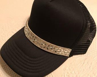 Hats, Womens Hats, Black Trucker Hats, Black Trucker Hat, Bling Hat, Sparkle Hat, Rhinestone Cap, Baseball Cap,  Womens Hat,Crystals